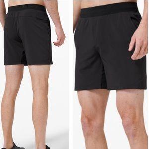 """Lululemon THE Shorts 7"""" Black Lined Workout Shorts"""